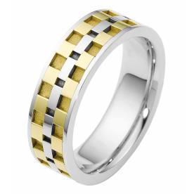 טבעת נישואין ריבועי זהב צהוב