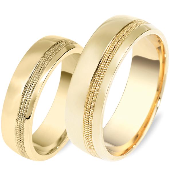 טבעת נישואין זהב צהוב פס באמצע