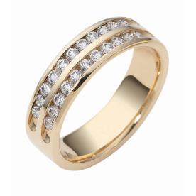טבעת נישואין שתי שורות יהלומים