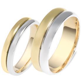 טבעות לזוג זהב צהוב מעל זהב לבן