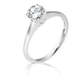 טבעת אירוסין סוליטייר זהב לבן