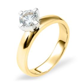 טבעת אירוסין סוליטר זהב צהוב ולבן