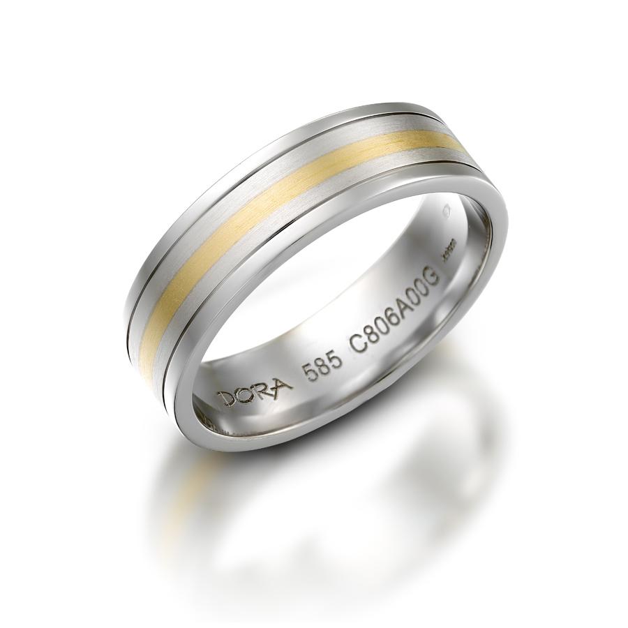 טבעת נישואין עדינה פס זהב צהוב