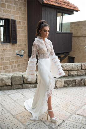 שמלת כלה עם שרוולי תחרה