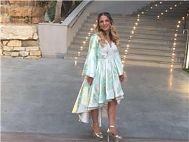 שמלת ערב: קולקציית 2018, שמלה בסגנון רומנטי, שמלה עם תחרה, שמלה עם שרוולים, שמלה בצבע טורקיז - מיכל אזולאי