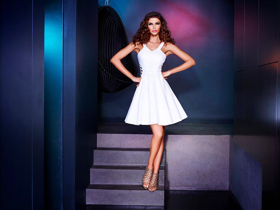 שמלת ערב מיני לבנה