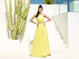 שמלת ערב צהובה משיפון