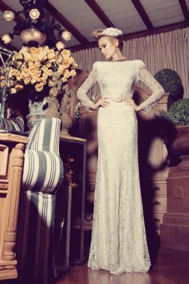 שמלת כלה תחרה עשירה צנועה