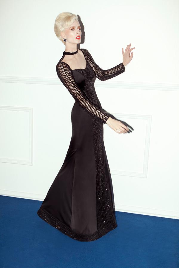 שמלת ערב קולר שחורה מחורזת