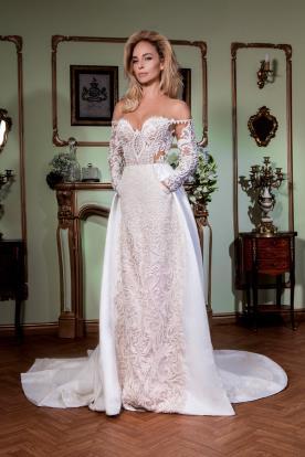 שמלת כלה אוף שולדר תחרה עשירה