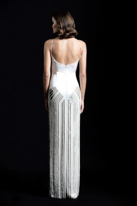 שמלת ערב לבנה נועזת גב פתוח