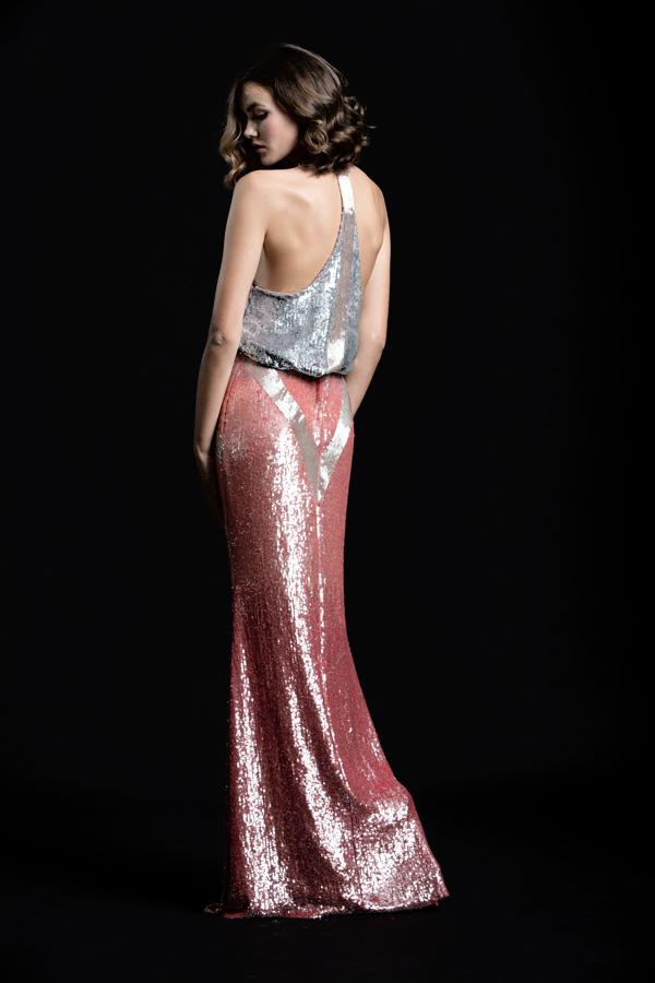 שמלת ערב מנצנצת גב פתוח נשפכת