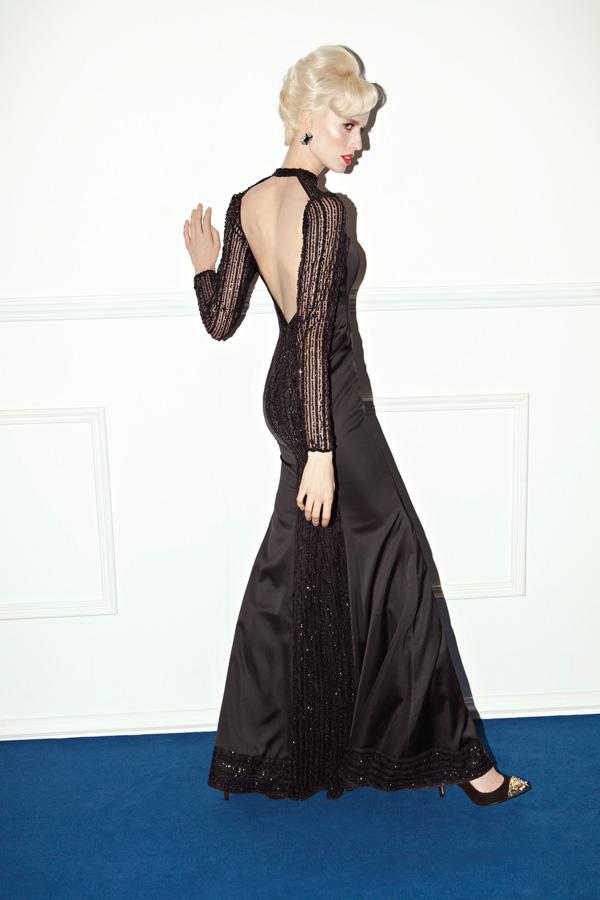 שמלת ערב קולר שחורה עם חרוזים
