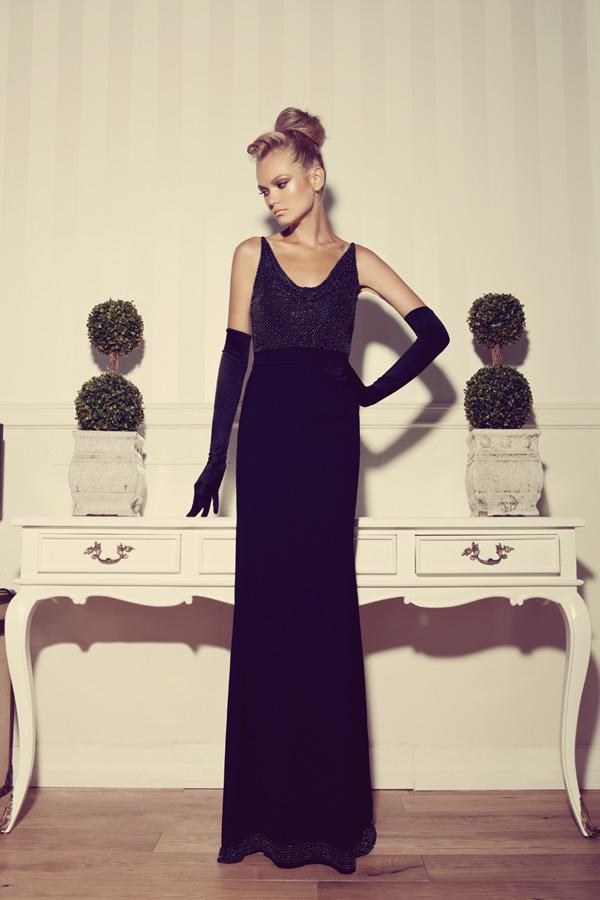 שמלת ערב קלאסית כפפות מרפק