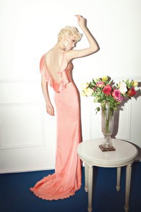 שמלת ערב גב פתוח וקפלים