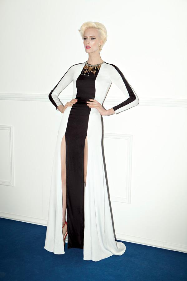 שמלת ערב שסעים שחור לבן