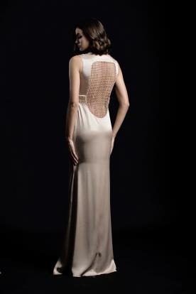 שמלת ערב גב פתוח רשת ושובל