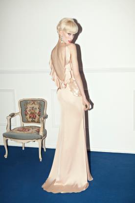 שמלת ערב גב פתוח חרוזים וקפלים