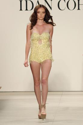 שמלת ערב בגד גוף צהוב ופרנזים