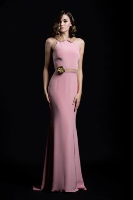 שמלת ערב צווארון קולר ורודה