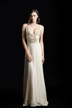שמלת ערב עם עיטורי זהב