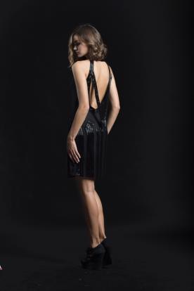 שמלת ערב מחורזת קצרה צבע שחור