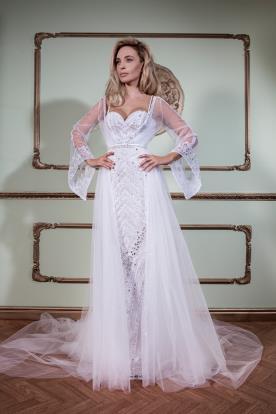 שמלת כלה מחורזת ועליונית טול
