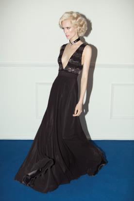 שמלת ערב חרוזים שחורים וכסופים