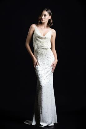שמלת ערב מנוקדת חרוזים ארוכה