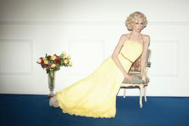 שמלת ערב צהובה קולר וחגורה