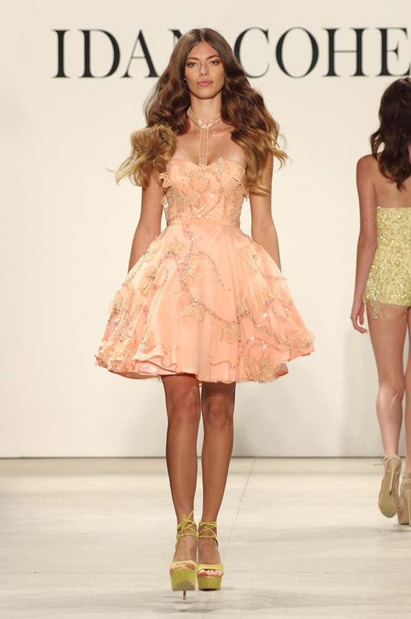 שמלת ערב אפרסק מחורזת מיני