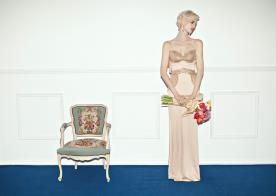 שמלת ערב חרוזים ארוכה אפרסק