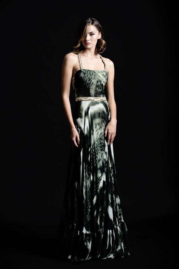 שמלת ערב עם חגורה ירוקה