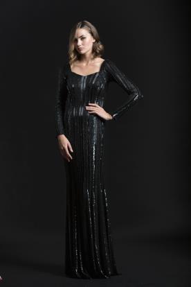 שמלת ערב פסי חרוזים אנכיים