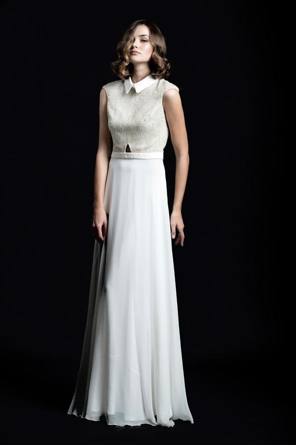 שמלת ערב צוארון חולצה ארוכה