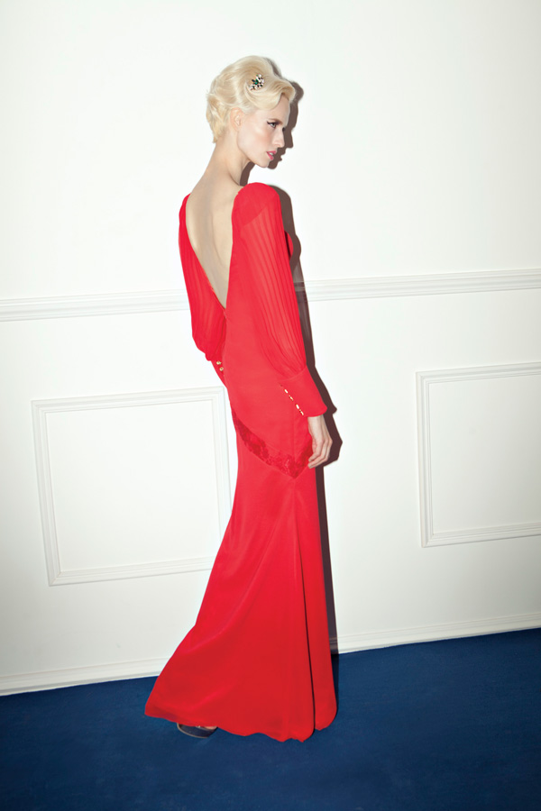 שמלת ערב אדומה מקסי גב חשוף