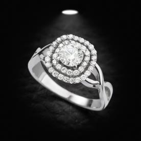 טבעת אירוסין זהב לבן קלוע ויהלום