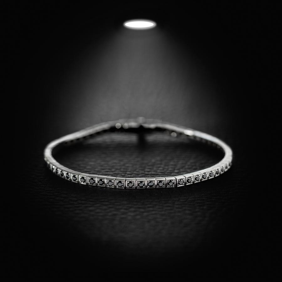 צמיד טניס יהלומים שחורים