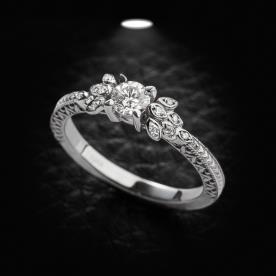טבעת אירוסין וינטג' עם עלים