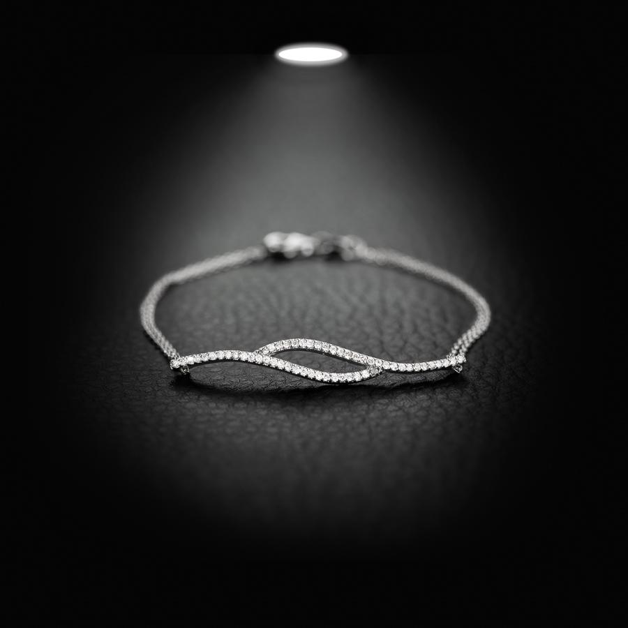 צמיד יהלומים גלי