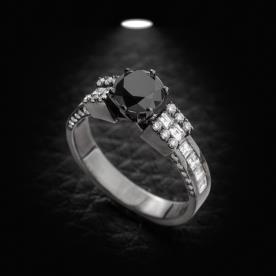 טבעת אירוסין גיאומטרית יהלום שחור