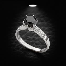 טבעת אירוסין יהלום שחור מוגבה