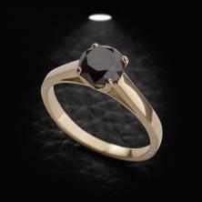 טבעת אירוסין זהב צהוב יהלום שחור