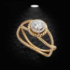 טבעת אירוסין זהב קלוע