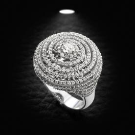 טבעת אירוסין עיגול יהלומים רחב