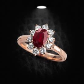 טבעת אירוסין פרח עם יהלומים
