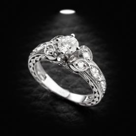 טבעת אירוסין בסגנון וינטג' זהב לבן