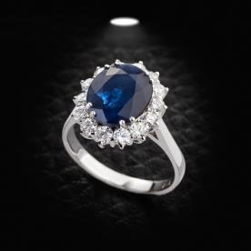 טבעת אירוסין אבן כחולה עגולה