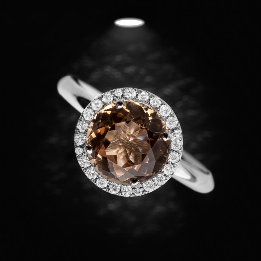 טבעת אירוסין אבן חומה עגולה