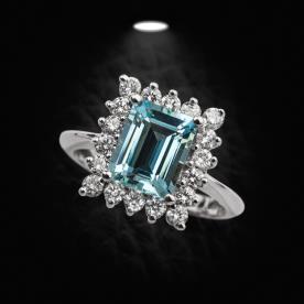 טבעת אירוסין יהלום כחול מרובע
